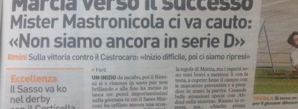 """I titoli dei giornali. Resto del Carlino: ."""" Marcia verso il successo.."""""""