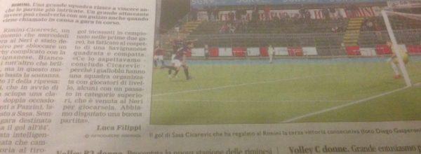 """I titoli dei giornali. Corriere Romagna: """"Rimini, lo stato di grazia di Sasa Cicarevic."""""""