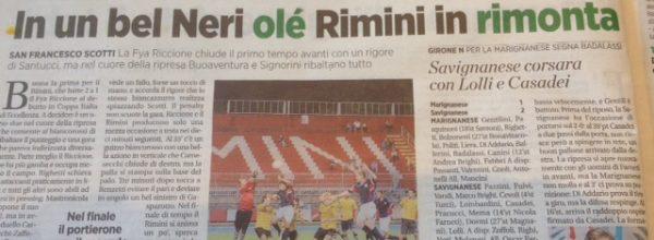 """I titoli dei giornali. Voce Romagna: """"In un bel Neri olè Rimini in rimonta"""""""