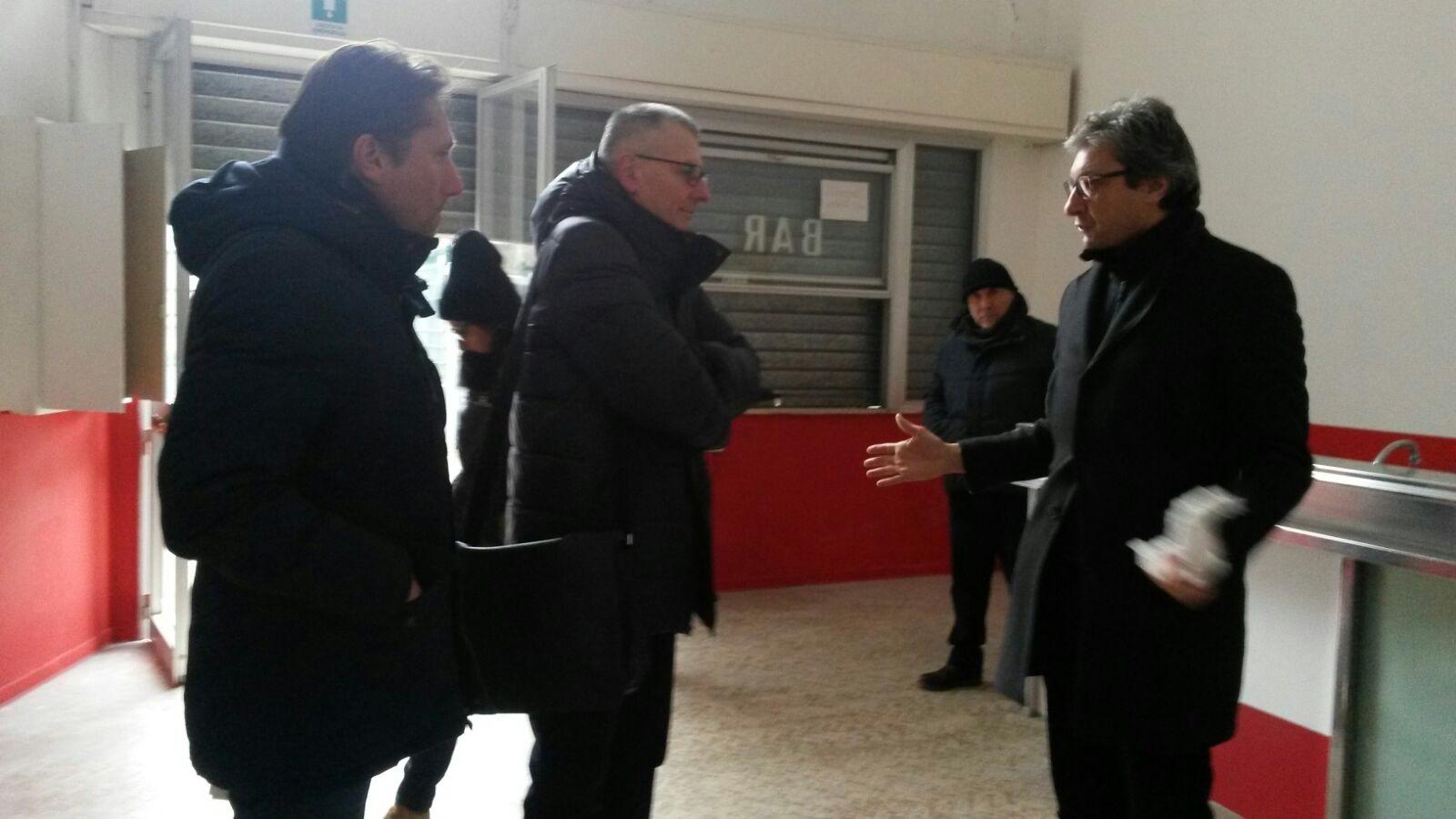 Rimini Calcio. Sopralluogo del sindaco Gnassi allo stadio, per l'affidamento del Bar.