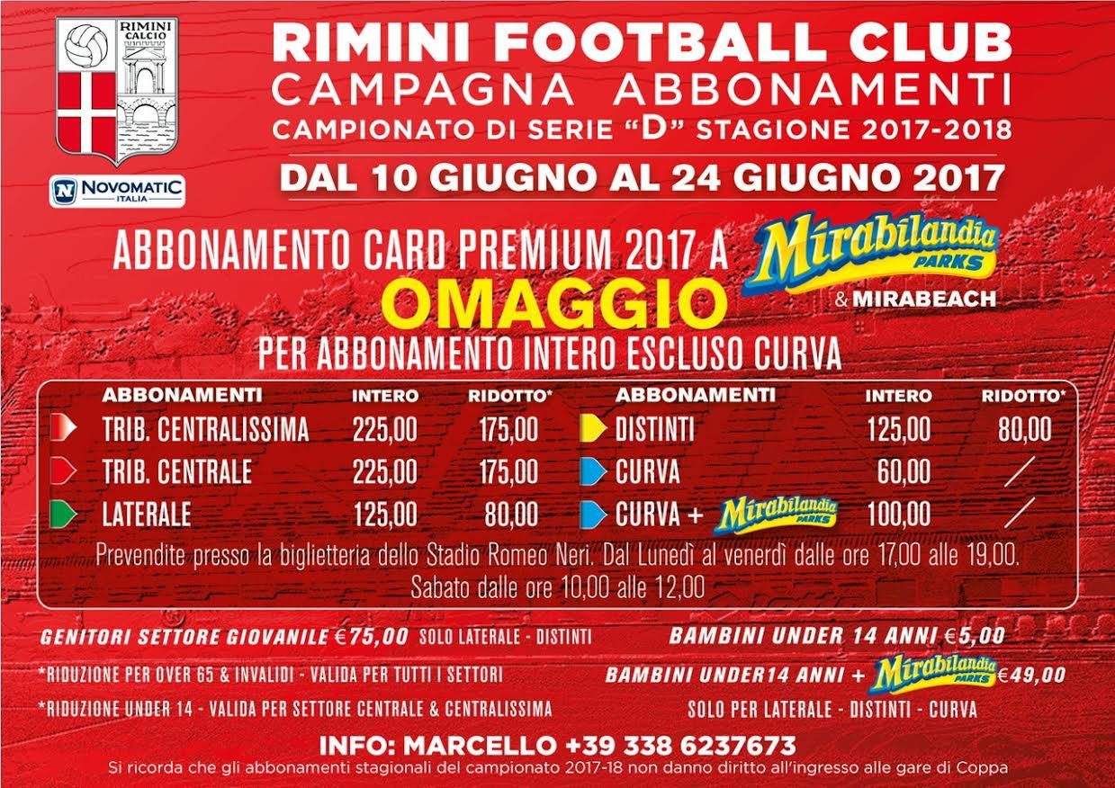 Rimini Calcio. Prosegue la promozione di abbonamento insieme a quello di Mirabilandia.