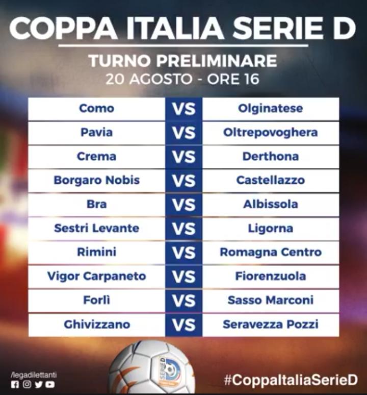 Ecco il girone del Rimini in Coppa Italia.