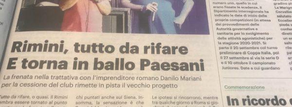 """I titoli dei giornali. Resto del Carlino: """"Rimini, tutto da rifare . E torna in ballo Paesani .  """""""