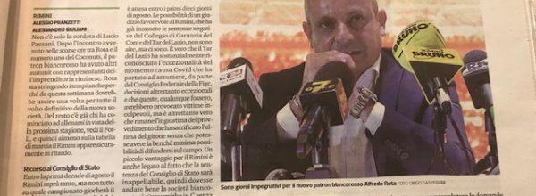 """Titoli dei giornali.Corriere Romagna:"""" Il nuovo Rimini gioca su due campi, società potenziata e Consiglio di stato. """""""