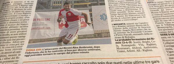 """I titoli dei giornali. Resto del Carlino: """"Rimini,serve un mercoledì da leoni."""""""