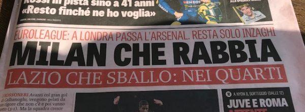 """Titoli dei giornali. Gazzetta dello Sport: """"Milan che rabbia."""""""