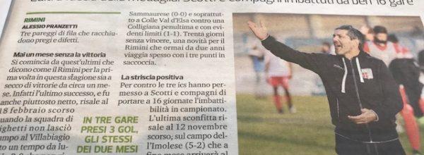 """Titoli dei giornali.Corriere Romagna:""""Rimini, per la prima volta un mese senza vincere."""""""