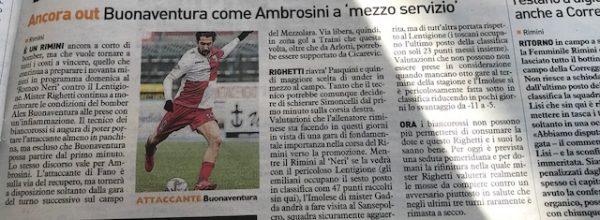 """I titoli dei giornali. Resto del Carlino: """"Rimini a corto di bomber."""""""