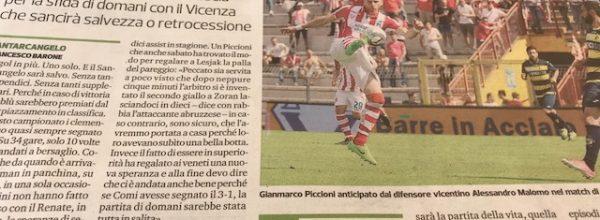 """Titoli dei giornali.Corriere Romagna:""""Il Santarcangelo e la partita dell'anno. Piccioni: """"La fatica non dovrà sentirsi."""""""