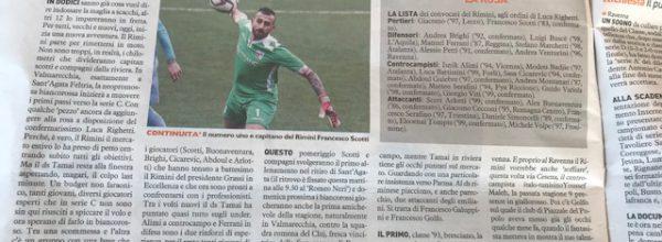 """I titoli dei giornali. Resto del Carlino: """"Il Rimini ricomincia dalle certezze."""""""