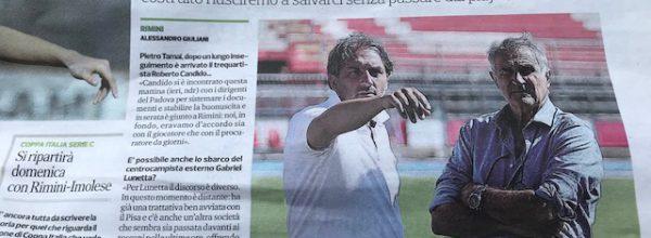 """Titoli dei giornali.Corriere Romagna:""""Rimini, Candido c'è: abbiamo fatto il massimo ."""""""