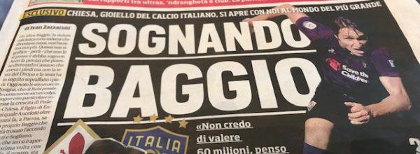 """I Titoli dei giornali. Stadio: """"Sognando Baggio."""""""
