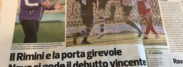 """Titoli dei giornali.Corriere Romagna: Il Rimini e la porta girevole. Nave si gode il debutto vincente."""""""