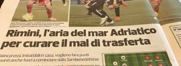 """Titoli dei giornali.Corriere Romagna: """"Rimini, l'aria del mar Adriatico per curare il mal di trasferta ."""""""