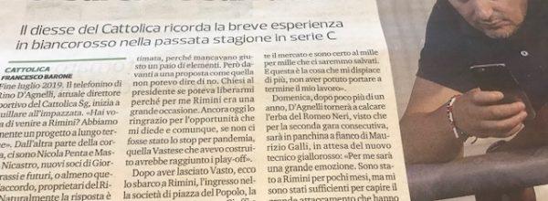 """Titoli dei giornali.Corriere Romagna:"""" D'Agnelli: """"Se fossi rimasto , il Rimini si sarebbe salvato. """""""