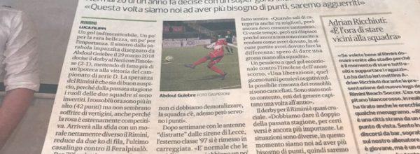 """Titoli dei giornali.Corriere Romagna: """" Il Rimini spera che Guiebre sia ancora il match-winner."""""""