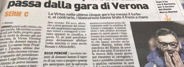 """I titoli dei giornali. Resto del Carlino: """" Il Rimini lo sa, la salvezza passa dalla gara di Verona. """""""