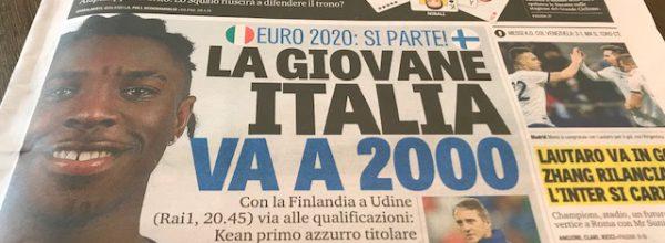 """Titoli dei giornali. Gazzetta dello Sport: """"La giovane Italia va a 2000."""""""