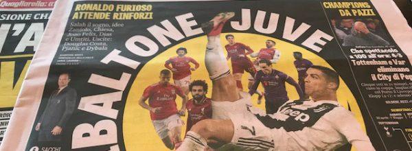 Titoli dei giornali. Gazzetta dello Sport:  Ribaltone Juve.