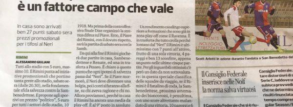 """Titoli dei giornali.Corriere Romagna: """"La vera speranza del Rimini è il fattore campo che vale."""""""