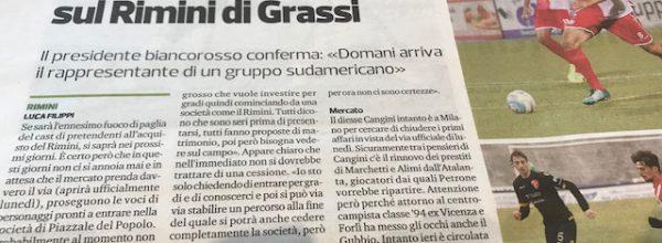 """Titoli dei giornali.Corriere Romagna:""""Una cordata messicana ha messo gli occhi sul Rimini di Grassi."""""""