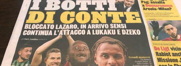 """Titoli dei giornali. Gazzetta dello Sport:  """"I botti di Conte."""""""