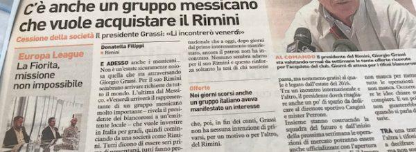 """I titoli dei giornali. Resto del Carlino: """"Avanti il prossimo. C'è anche un gruppo messicano che vuole acquistare il Rimini ."""""""