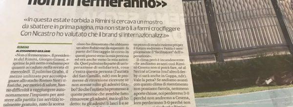"""Titoli dei giornali.Corriere Romagna:""""Grassi tira dritto:""""Queste intimidazioni non mi fermeranno."""""""