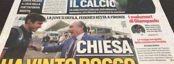 """I Titoli dei giornali. Stadio: """"Chiesa, ha vinto Rocco."""""""