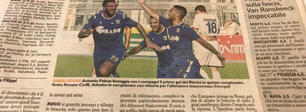 """I titoli dei giornali. Resto del Carlino: """" Il Rimini fa un sol boccone dell'Imolese."""""""