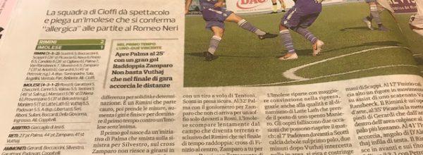 """Titoli dei giornali.Corriere Romagna:"""" Il Rimini ha aspettato il campionato per divertirsi."""""""