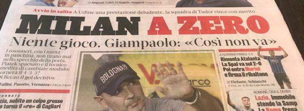 """Titoli dei giornali. Gazzetta dello Sport:  """"Milan a zero."""""""
