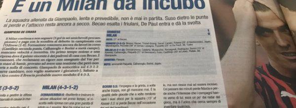 """Libero:  """" E' un Milan da incubo."""""""
