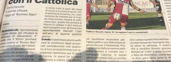 """I titoli dei giornali. Resto del Carlino: """"I biancorossi si allenano con il Cattolica . """""""