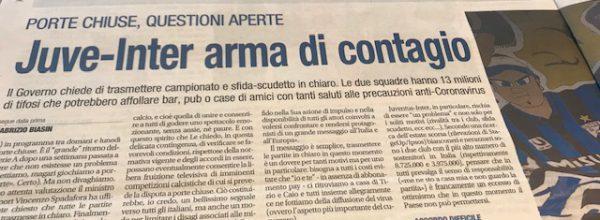 """Libero:  """"Juve-Inter arma di contagio."""""""