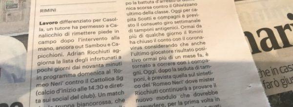"""I titoli dei giornali. Resto del Carlino:  """"Casolla a mezo servizio, al """"Neri"""" si rivede Canalicchio."""""""