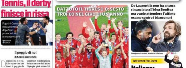 """I Titoli dei giornali. Stadio.""""Gattuso-Pirlo brutto scherzo."""""""