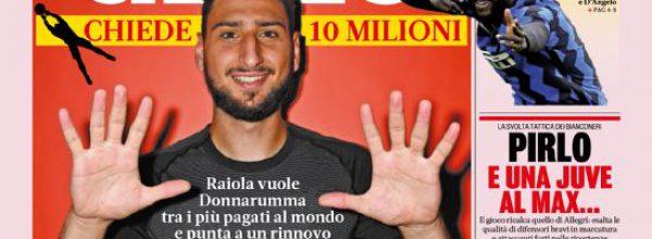 """Titoli dei giornali. Gazzetta dello Sport:  """"Carissimo Gigio."""""""