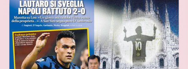 """Titoli dei giornali. Gazzetta dello Sport:  """"Bombe Inter."""""""