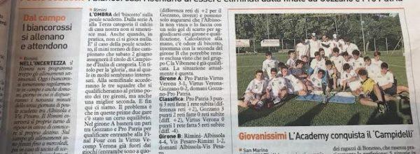 """I titoli dei giornali. Resto del Carlino: """"Rimini, profumo di biscotto nell'aria."""""""