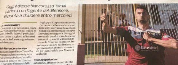 """Titoli dei giornali.Corriere Romagna:""""Rimini, ore molto calde per Ferrari. Derby con il Ravenna per Caldi e Alimi."""""""