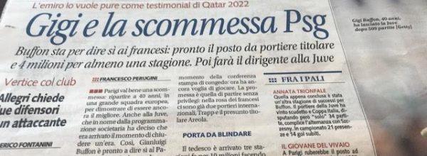 """Libero: """"Gigi e la scommessa PSG."""""""