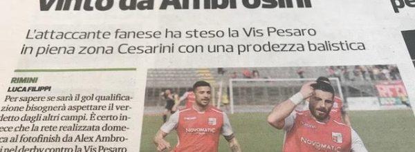 """Titoli dei giornali.Corriere Romagna:""""Rimini, il derby speciale vinto da Ambrosini."""""""