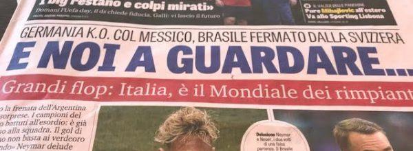 """Titoli dei giornali. Gazzetta dello Sport: """"E noi a guardare. """""""