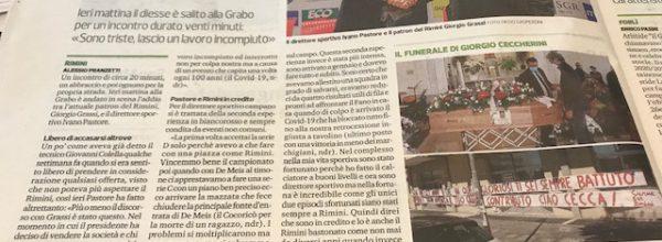 """Titoli dei giornali.Corriere Romagna:"""" Rimini in vendita ma è una corsa contro il tempo. """""""