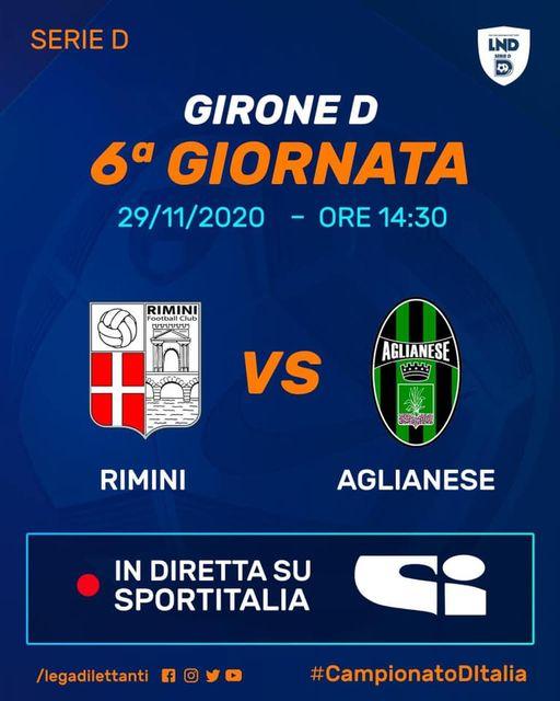 Rimini-Aglianese sarà trasmessa su Sportitalia canale 60 a partire dalle 14.05